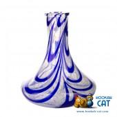 Колба для кальяна Hype Goose High Quality White Alebastr Blue (Белый Алебастр Синие Наплывы)